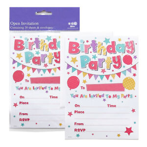 20 X Birthday Party Invitations With Envelopes Kids Unisex Balloons