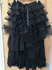 OOAK VICTORIAN GOTHIC SKIRT BLACK RUFFLE HITCH TUTU COSPLAY STEAMPUNK QUIRKY