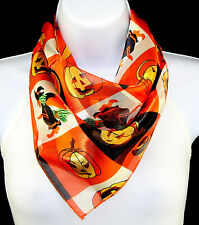 Flying Witches Womens Scarf Broom Evil Pumpkin Orange Black Square Scarves New