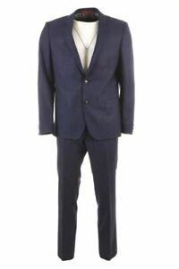 HUGO BOSS Anzug Blau Streifen Wolle Jacke Hose Größe 56 HC 473