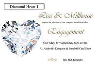 50 invites Diamond Heart Engagement Invitation Cards - 50 invites