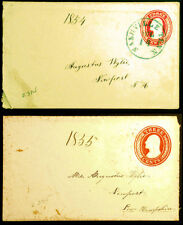 3c Red 1854 & 1855 Embossed Envelopes Both Sent to Augustus Wylie 2 Rare items
