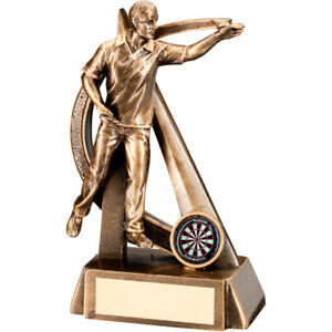 BRZ/GOLD MALE DARTS GEO FIGURE TROPHY - 7.5in FREE ENGRAVING