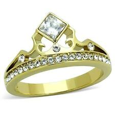 Yellow Gold Plated Crystal Tiara Princess Crown Dress Ring Size 9 / R