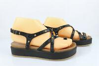 INUOVO Sandales Plate Forme Cuir Noir Clouté T 37 Très bon état
