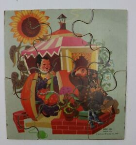 Vtg 1957 SIFO Co Grosset & Dunlap Peter Peter Pumpkin Eater Wooden Puzzle
