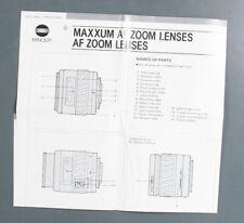 MINOLTA MAXXUM AF ZOOM LENS INSTRUCTIONS/132577