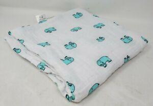 Aden & Anais White/Blue Elephants Oversized Muslin Cotton Swaddle Baby Blanket