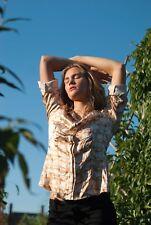 Agnona Blouse Top Button Down Shirt Italy Silk Women Blouse Size 44 RARE!