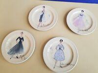 "Rosanna Fashion retro set 4 plate appetizer dessert 5"" dress small"