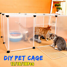 Cat Dog Pet Cage Fence Plastic Yard DIY Villa Home Cage Freestand Tray Enclosure