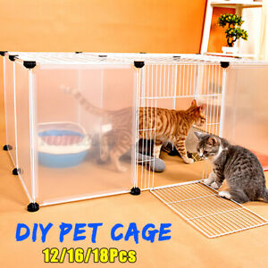 Cat Dog Pet Cage Fence Plastic Yard DIY Villa Home Cage Freestand Tray Enclosure