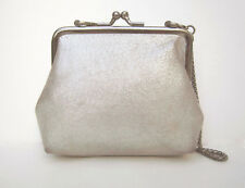 KENNETH COLE REACTION metallic suede eve bag, top-frame, kiss-lock, chain, EUC
