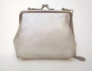 KENNETH COLE REACTION metallic suede eve bag, top-frame, kiss-lock, chain, EUC