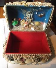 More details for vintage seashell trinket box with celluiod aquarium