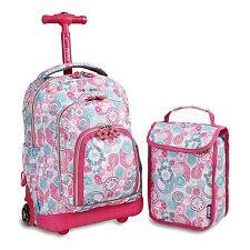 Girls School Bag Lollipop Kids Rolling Backpack Lunch Bag Blue Raspberry