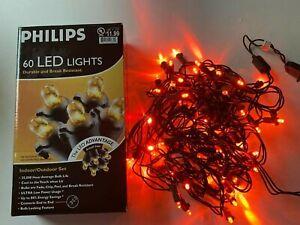 Philips 60 LED Dome Lights Orange Indoor Outdoor Set Halloween Decor Lighting