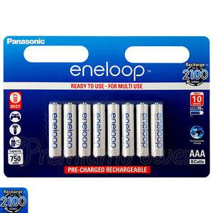8 x Panasonic Eneloop AAA batteries 750 mAh Rechargeable Ni-MH Accu BK-4MCCE