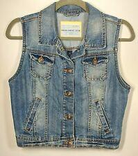 Ladies Sleeveless Denim Jacket UK 8 Light Wash Short Waist Coat