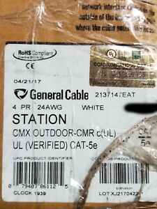 General Cable 2137147E GenSPEED 5000 24/4P UTP Cat5e Network CMX/CMR White/100ft