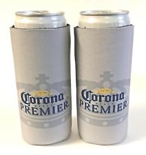 Corona Premier Slim Can Cooler Holder Koozie Coozie - Set of Two (2) - New & F/S