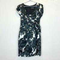 Basque Petite Womens Black/White Short Sleeve Dress Size 10