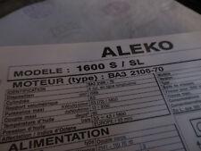 FICHE TECHNIQUE REGLAGE MISE AU POINT MOTEUR ALEKO 1600-S/SL Type BA3 >1991