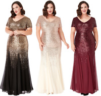 Goddiva Chiffon Inserts Sequin Maxi Evening Dress Party Bridesmaid Prom Sz 16-26