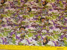 """Dora Explorer Boots Wild Life Cameo Fabric Sewing Quilting 100% Cotton 1-yd 28"""""""