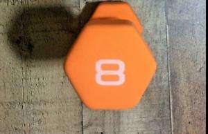 CAP Neoprene Dumbbell 8lb Orange Single Hex Weight Workout 8 Pound Dumbell