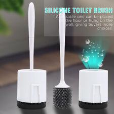 Silicone Toilet Brush Flat Head Flexible Soft Bristle Brush With Holder New