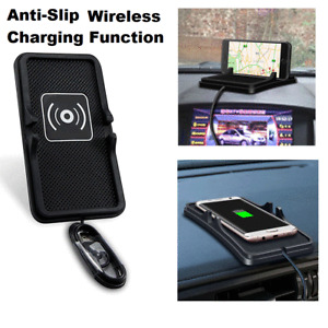 Qi Wireless Anti Slip Car Charger Phone Holder Mount Pad Mat For iPhone Samsung