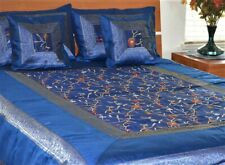 Blue Silk Bed Cover Flat Sheet Sham Set Embroidered Full Queen from India