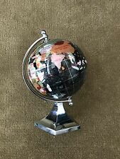 """4"""" Alexander Kalifano Gemstone Globe with Black Opal Ocean and Contempo Stand"""