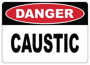 OSHA DANGER: CAUSTIC | Adhesive Vinyl Sign Decal