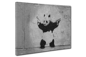 Banksy Panda Canvas Print Grey Wall Art CANVAS PICTURE PRINT Large & Small