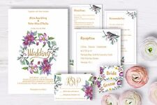Editable Watercolor DIY Wedding Invitations Kit for Printing. Instant download.