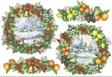Papier de riz DFS171 Couronne fruits oiseau Noël Rice Decoupage paper Christmas