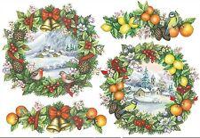 Papier de riz DFS171 Couronne fruits oiseau Noël Rice Decoupage paper Christmas