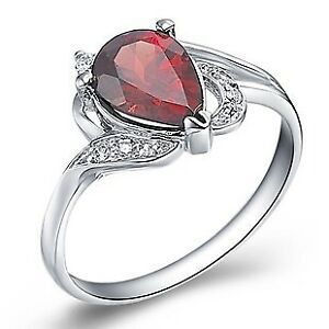 Garnet Solitaire With Accent Ring 14k Gold Over 925 Sterling Silver 1.00 Cttw