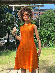 Kleid Seide Handarbeit orange Damenmode 60er True VINTAGE 60s women dress silk