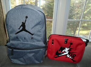 Nike Air Jordan Backpack & Red Lunch Box Gray Bag School Gym Laptop Holder New