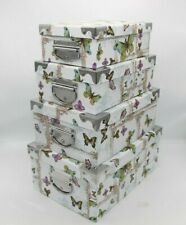 Set Of 10 Butterfly Theme Storage Box Flower Nature Range of Sizes Metal Handles