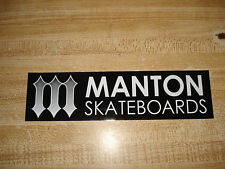 MANTON SKATEBOARDS THE OG ICONIC M PITCHFORK LOGO BLACK STRIP SKATEBOARD STICKER