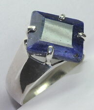 13.93 CT CERTIFIED NATURAL BLUE SAPPHIRE 15.25 RATTI 92.5 SILVER SIZABLE RING