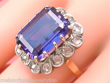 ANTIQUE .54ctw ROSE DIAMOND 10ct ALEXANDRITE-LIKE SAPPHIRE COCKTAIL RING 1930