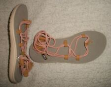 Womens TEVA Pink & Tan Strappy Slingback Leather Thong Sandals--Sz 7--NWOB