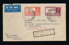 INDIA WW2 NOT OPENED BY CENSOR C9 BOXED 1940 AIRMAIL PRINTED ENV.NOBLE PETROLEUM
