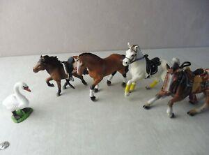 Lot de figurines PVC, Schleich et Bullyland, chevaux, oie
