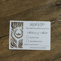 Personalized Engraved Feather Wedding Rsvp cards,Wish well cards /Free Printed